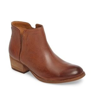 Clarks Cognac Maypearl Ramie Leather Ankle Booties